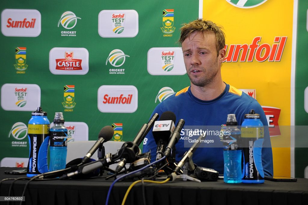 AB de Villiers during the South African national cricket team training session and captain's press conference at Bidvest Wanderers Stadium on January 13, 2016 in Johannesburg, South Africa.