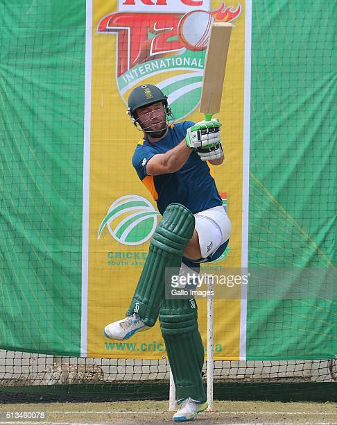 AB de Villiers during the South African national cricket team training session at Sahara Stadium Kingsmead on March 03 2015 in Durban South Africa