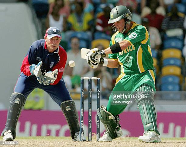 AB de Villiers in action in his innings of 42 during the ICC Cricket World Cup Super Eights match between South Africa and England at the Kensington...