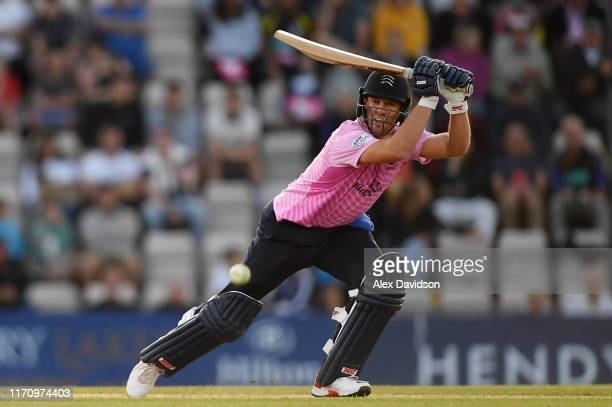 AB de Villiers of Middlesex bats during the Vitality Blast match between Hampshire and Middlesex at Ageas Bowl on August 29 2019 in Southampton...