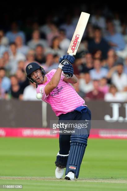 De Villiers of Middlesex bats during the Vitality T20 Blast match between Middlesex and Surrey at Lord's Cricket Ground on August 08 2019 in London...