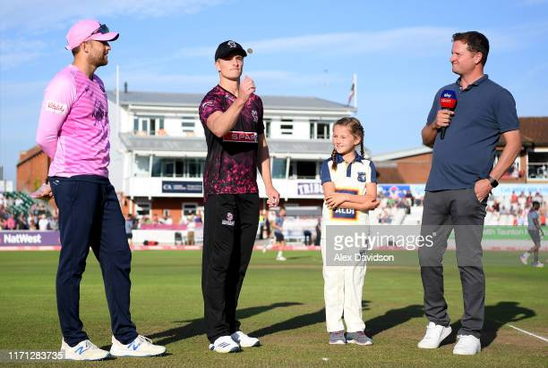 De Villiers of Middlesex, Tom Abell of Somerset and Rob Key of Sky Sports at the toss during the Vitality Blast match between Somerset and Middlesex...