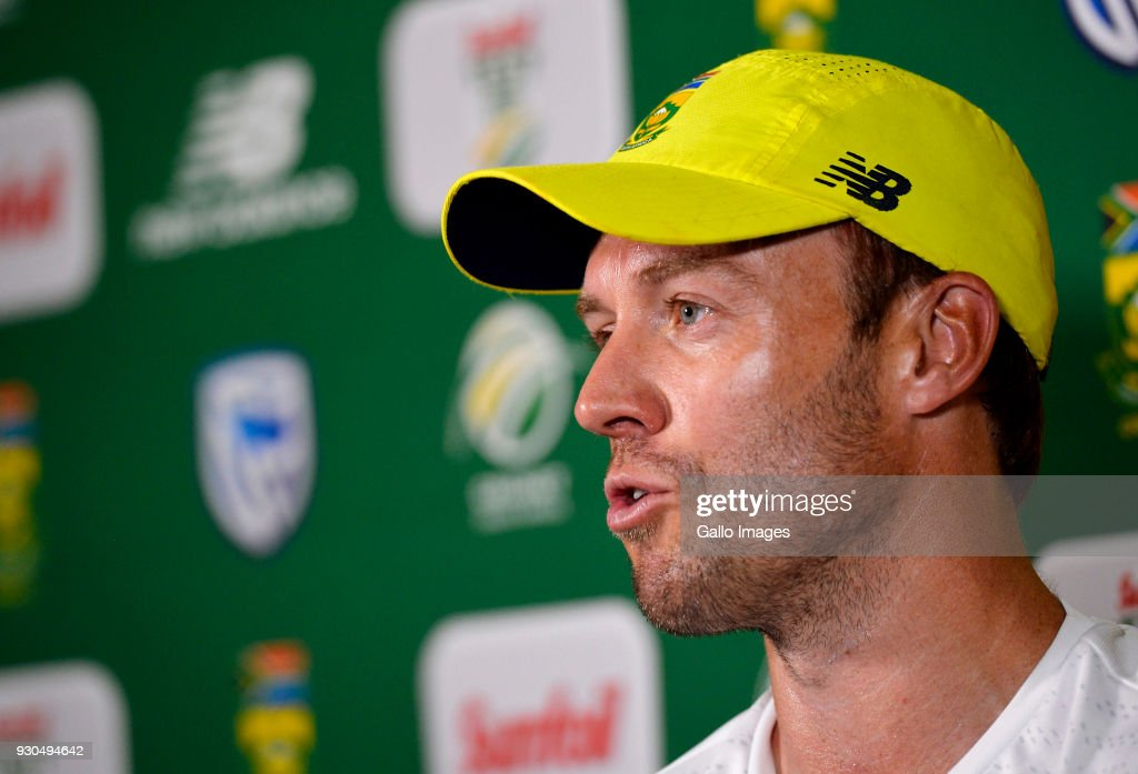 AB de Villiers of South Africa after day 3 of the 2nd Sunfoil Test match between South Africa and Australia at St Georges Park on March 11, 2018 in Port Elizabeth, South Africa.