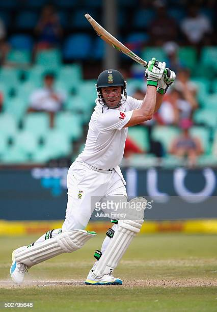 AB de Villiers of South Africa bats during day four of the 1st Test between South Africa and England at Sahara Stadium Kingsmead on December 29 2015...