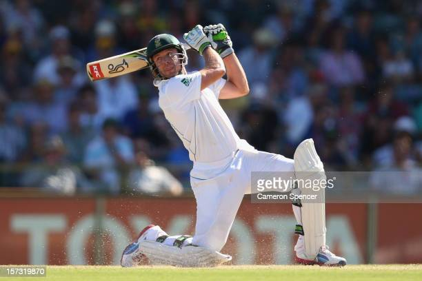 AB de Villiers of South Africa bats during day three of the Third Test Match between Australia and South Africa at the WACA on December 2 2012 in...