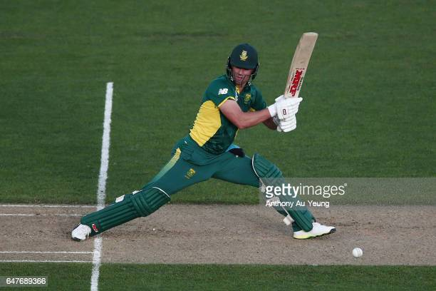 AB de Villiers of South Africa bats during game five of the One Day International series between New Zealand and South Africa at Eden Park on March 4...