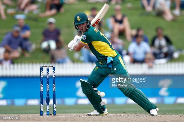 AB de Villiers of South Africa bats during game four of the One Day International series between New Zealand and South Africa at on March 1 2017 in...