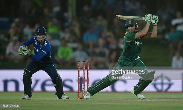 AB de Villiers of South Africa bats during the 1st Momentum ODI match between South Africa and England at Mangaung Oval on February 3 2016 in...