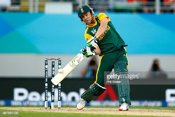 De Villiers of South Africa bats during the 2015 Cricket World Cup Semi Final match between New Zealand and South Africa at Eden Park on March 24,...