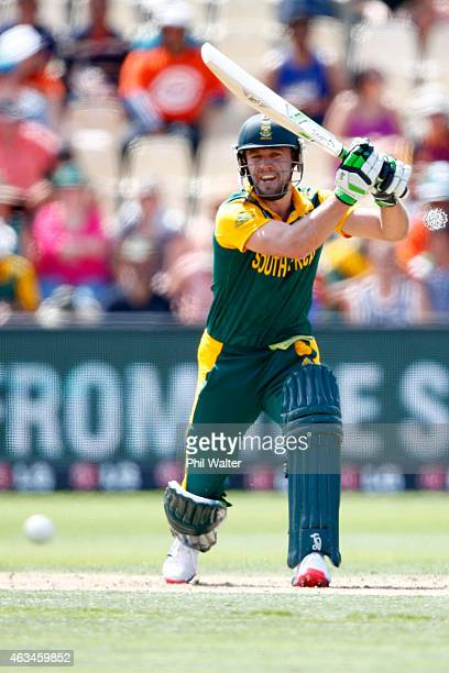 AB de Villiers of South Africa bats during the 2015 ICC Cricket World Cup match between South Africa and Zimbabwe at Seddon Park on February 15 2015...