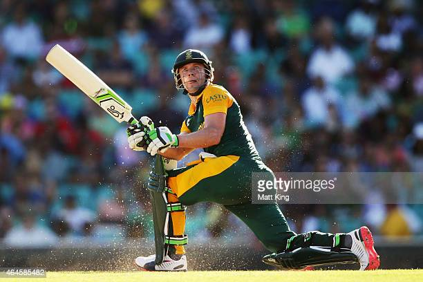 AB de Villiers of South Africa bats during the 2015 ICC Cricket World Cup match between South Africa and the West Indies at Sydney Cricket Ground on...
