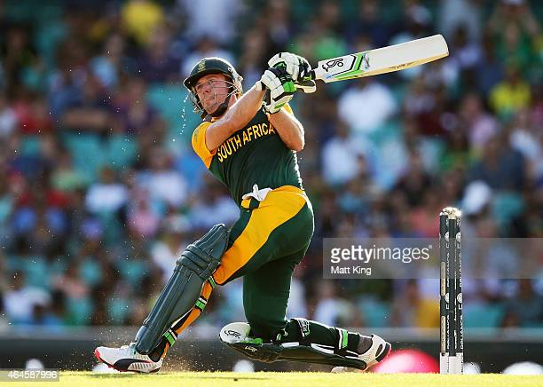 De Villiers of South Africa bats during the 2015 ICC Cricket World Cup match between South Africa and the West Indies at Sydney Cricket Ground on...