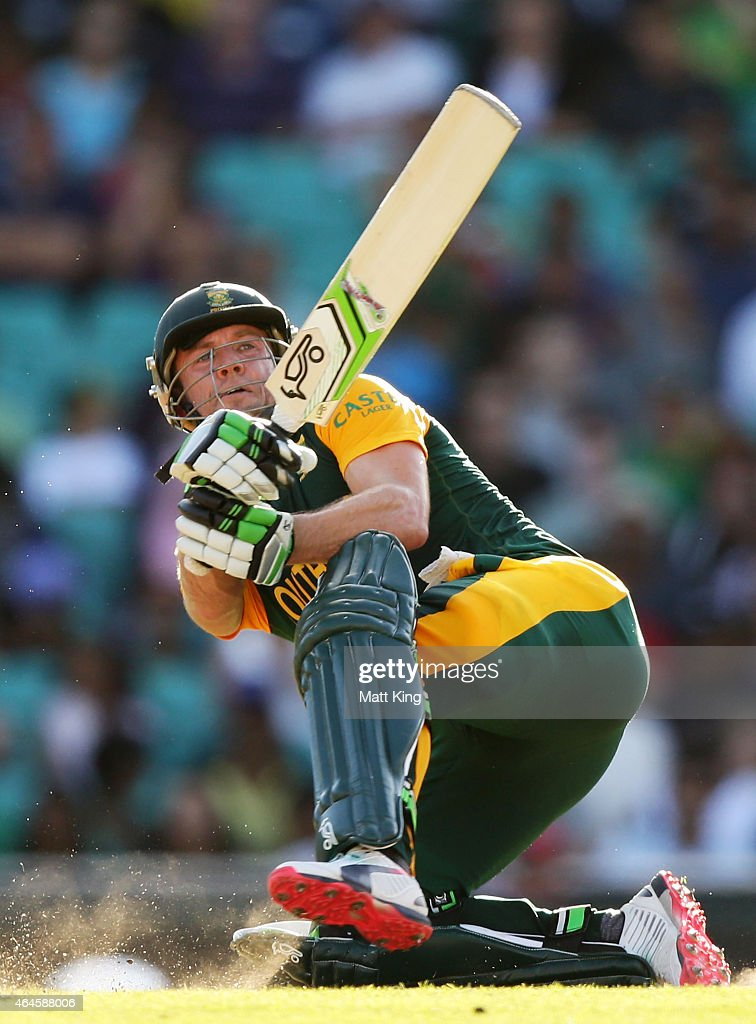 AB de Villiers of South Africa bats during the 2015 ICC Cricket World Cup match between South Africa and the West Indies at Sydney Cricket Ground on February 27, 2015 in Sydney, Australia.