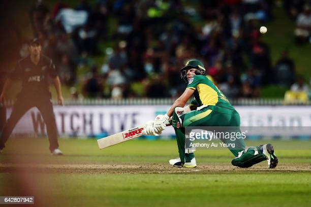 AB de Villiers of South Africa bats during the First One Day International match between New Zealand and South Africa at Seddon Park on February 19...