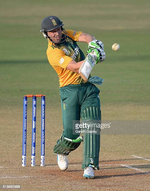 AB de Villiers of South Africa bats during the ICC Twenty20 World Cup Warm Up match between Mumbai Cricket Association XI and South Africa at...