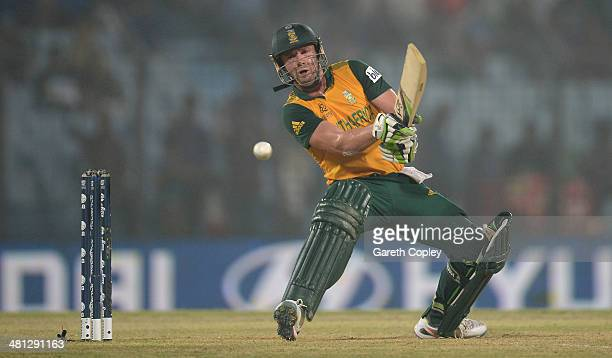 AB de Villiers of South Africa bats during the ICC World Twenty20 Bangladesh 2014 Group 1 match between England and South Africa at Zahur Ahmed...