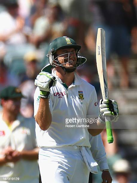 AB de Villiers of South Africa celebrates after scoring his century during day three of the Third Test Match between Australia and South Africa at...