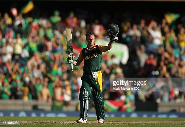 AB de Villiers of South Africa celebrates and acknowledges the crowd after scoring a century during the 2015 ICC Cricket World Cup match between...