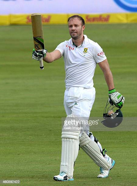 AB de Villiers of South Africa celebrates his 100 during day 1 of the 1st Test match between South Africa and West Indies at SuperSport Park on...
