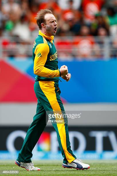 AB de Villiers of South Africa celebrates his wicket of Younis Khan of Pakistan during the 2015 ICC Cricket World Cup match between South Africa and...