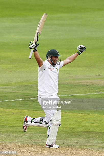 AB de Villiers of South Africa celebrates reaching 100 runs during day two of the Second Test match between South Africa and Australia at AXXESS St...