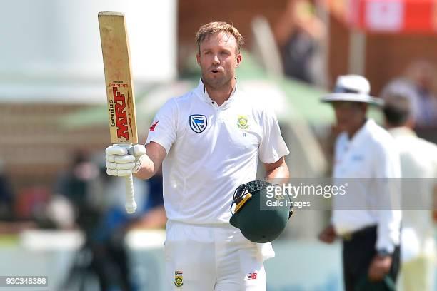 AB de Villiers of South Africa celebrates scoring 100 runs during day 3 of the 2nd Sunfoil Test match between South Africa and Australia at St...