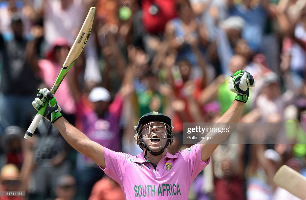 AB De Villiers Of South Africa Celebrates Smashing The Fastest Ever One Day Century Off