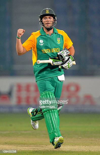 AB de Villiers of South Africa celebrates victory during the 2011 ICC World Cup Group B match between West Indies and South Africa at Feroz Shah...
