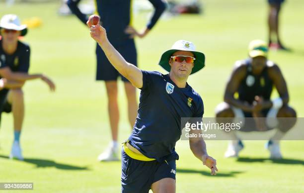 AB de Villiers of South Africa during the South African national mens cricket team training session and press conference at PPC Newlands Stadium on...