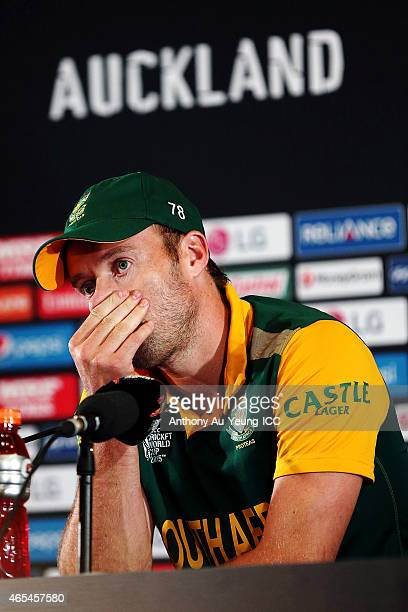 AB de Villiers of South Africa fronts the media at the press conference after the 2015 ICC Cricket World Cup match between South Africa and Pakistan...