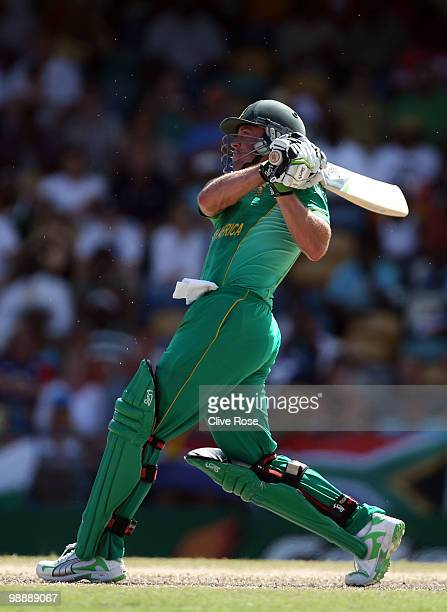 AB de Villiers of South Africa hits a six during The ICC World Twenty20 Super Eight match between South Africa and New Zealand played at The...