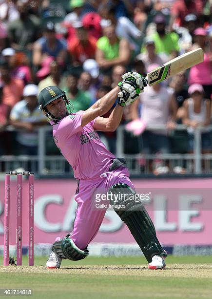AB de Villiers of South Africa hits agother six during the 2nd Momentum ODI between South Africa and West Indies at Bidvest Wanderers Stadium on...