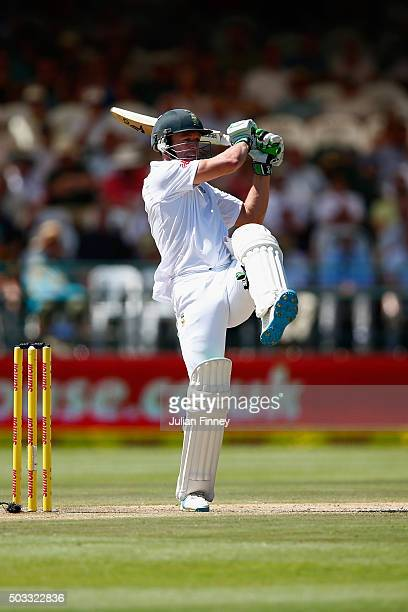 AB de Villiers of South Africa hits out during day three of the 2nd Test at Newlands Stadium on January 4 2016 in Cape Town South Africa
