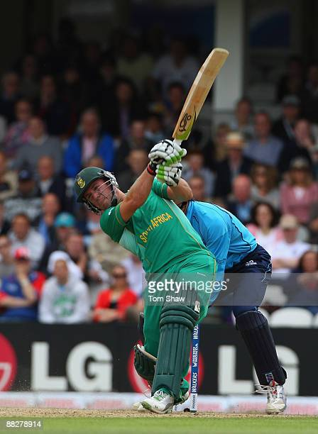 De Villiers of South Africa hits out during the ICC Twenty20 World Cup match between South Africa and Scotland at The Brit Oval on June 7 2009 in...