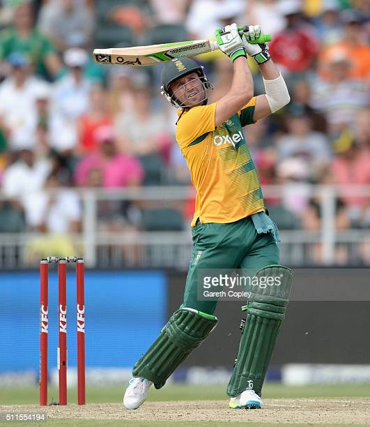 AB de Villiers of South Africa hits out for six runs during the 2nd KFC T20 International match between South Africa and England at Bidvest Wanderers...