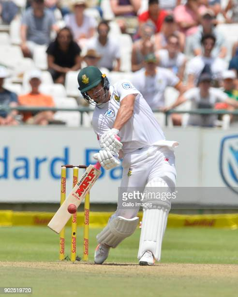 AB de Villiers of South Africa in action during day 4 of the 1st Sunfoil Test match between South Africa and India at PPC Newlands on January 08 2018...
