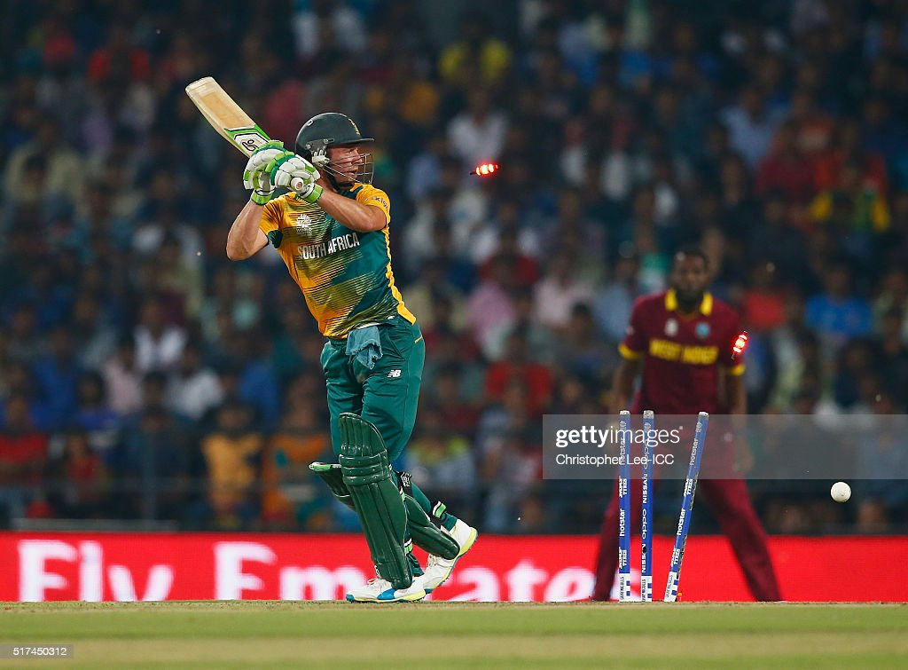 AB De Villiers Of South Africa Is Bowled Out By Dwayne Bravo The West Indies