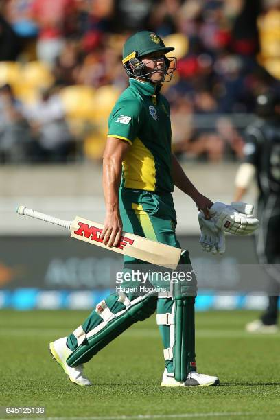 AB de Villiers of South Africa leaves the field after being dismissed during game three of the One Day International series between New Zealand and...