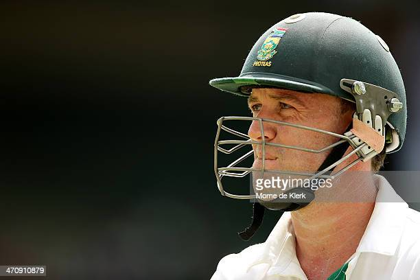 AB de Villiers of South Africa leaves the field after getting out to Nathan Lyon of Australia during day two of the Second Test match between South...