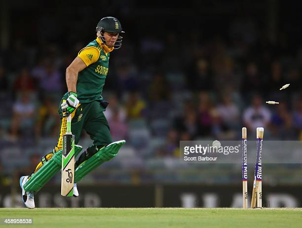 AB de Villiers of South Africa looks on as he is run out during game one of the men's one day international series between Australia and South Africa...
