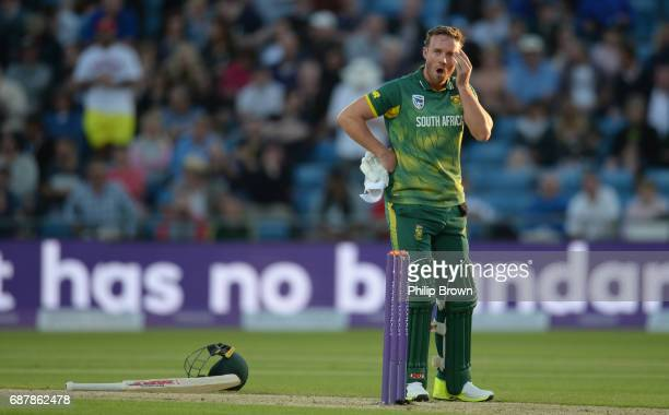 AB de Villiers of South Africa looks on during the 1st Royal London oneday international cricket match between England and South Africa at Headingley...