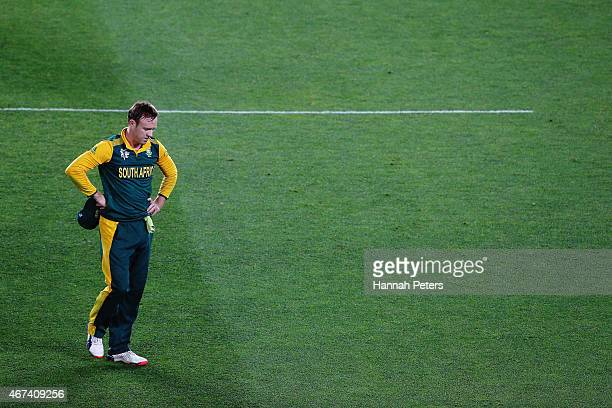 De Villiers of South Africa looks on during the 2015 Cricket World Cup Semi Final match between New Zealand and South Africa at Eden Park on March...