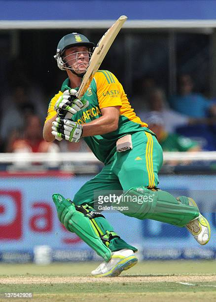 De Villiers of South Africa paddle sweeps the last delivery of the innings during the 5th ODI match between South Africa and Sri Lanka from Bidvest...