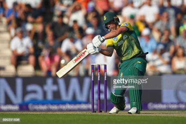 AB de Villiers of South Africa plays a shot during the 1st NatWest T20 International match between England and South Africa at Ageas Bowl on June 21...
