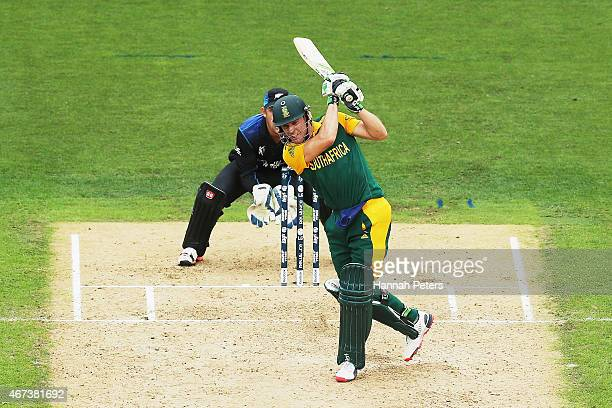AB de Villiers of South Africa pulls the ball away for six runs during the 2015 Cricket World Cup Semi Final match between New Zealand and South...