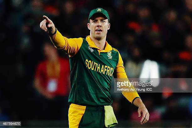 AB de Villiers of South Africa puts his team into positions during the 2015 Cricket World Cup Semi Final match between New Zealand and South Africa...