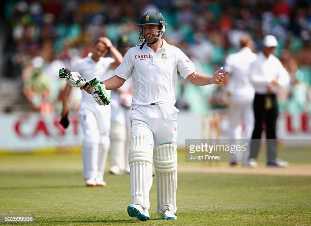 AB de Villiers of South Africa reacts during day two of the 1st Test between South Africa and England at Sahara Stadium Kingsmead on December 27 2015...
