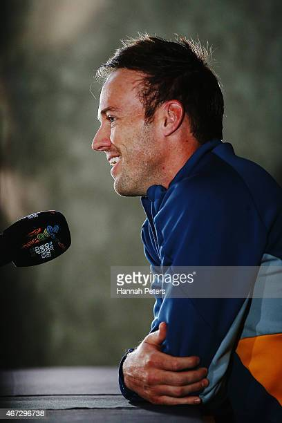AB de Villiers of South Africa talks to the media during a South Africa press conference at Eden Park on March 23 2015 in Auckland New Zealand