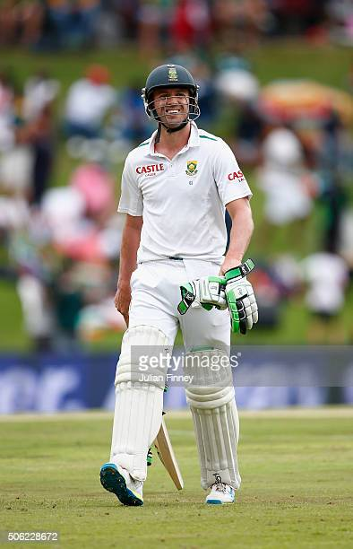 AB de Villiers of South Africa walks off after Stuart Broad of England took his wicket during day one of the 4th Test at Supersport Park on January...