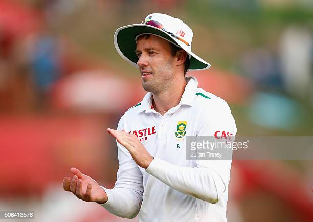 AB de Villiers of South Africa walks off at close of play during day two of the 4th Test at Supersport Park on January 23 2016 in Centurion South...